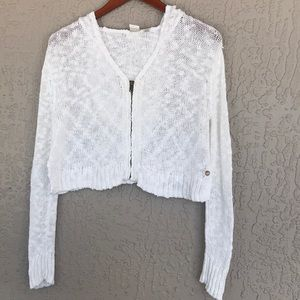 Roxy cardigan. Long sleeve, zippered. Size small.